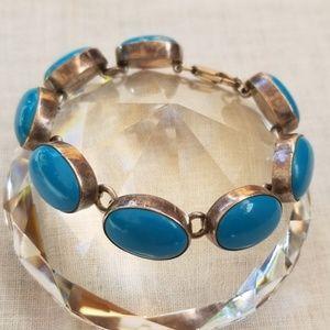 Vintage Sterling turquoise cabochon bracelet